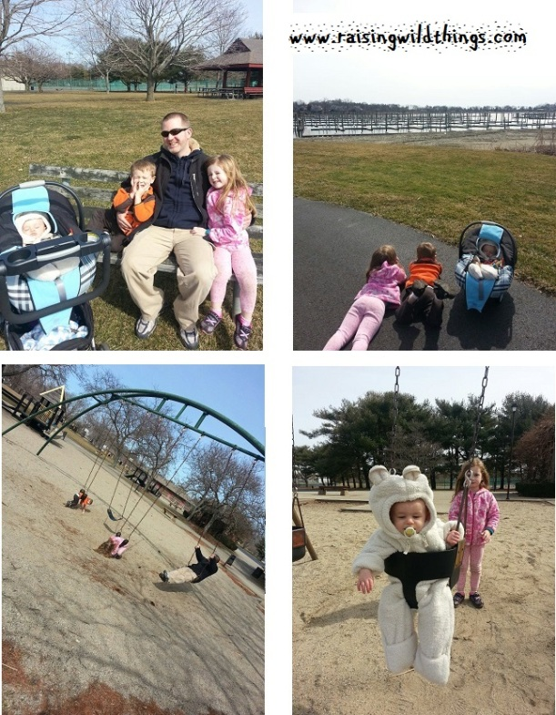 "Our first complete family outing to the park this ""spring"" -- marina gazing, Eli's first time swinging . . . beautiful day"