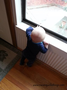 Watching his sissy and brother catching snowflakes