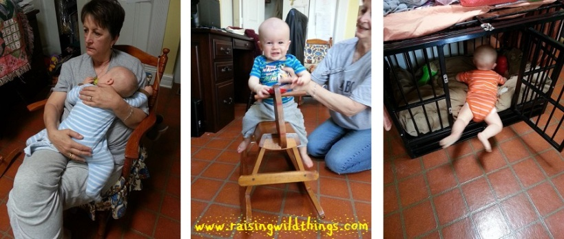 The baby being cute . . . passed out on Gramma, riding Mommy's wooden horse, checking out the dog crate