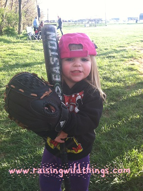 Julianne from MD: Baby sis is very, very excited to play on big bro's team. In fact, one of the coaches (Dad) and I had to drag her kicking and screaming from the field because we wouldn't let her be the team's designated hitter.