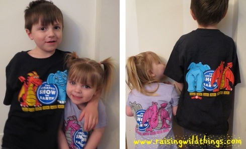 "From Julianne in MD: ""Thanks, Granny and Peepaw, for taking us to the circus. We LOVE our new shirts!!"""