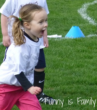 Amy from Funny is Family (www.funnyisfamily.com): My three year old started soccer last weekend. She barely likes to walk, so I thought she would hate soccer. She didn't hate it. At all.