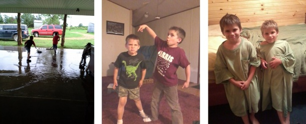 Kelley from OK: Her boys sweeping up water after the storms, being goofy, and wearing their Paw's tshirts as jammies. Cuties!