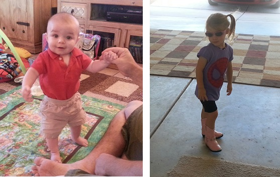 Sundra from AZ; My nearly 6-month-old Lucas looking like a little man. And my 3-year-old Reese showing off her unique style. This week cowboy boots went with every outfit.