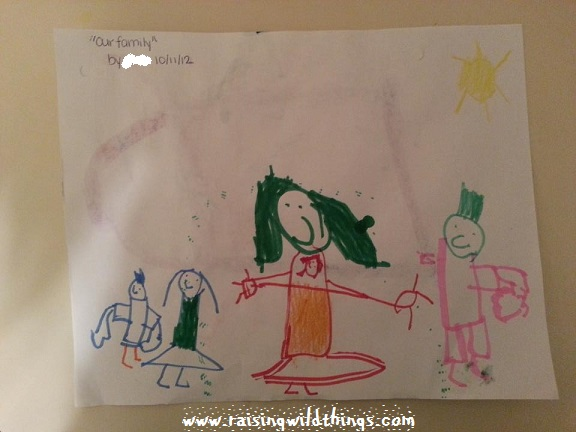 I LOVE this drawing of our family. (Notice that I'm holding the baby on my chest.)