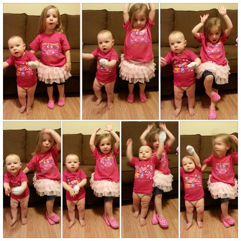 Jenn from Mommy Needs a Martini (https://www.facebook.com/MommyNeedsAMartini): These are my girls having a dance party to show off their new shirts. And also, THIGHS!