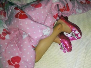 Kristina from MD: Do all princesses sleep in their high heels??