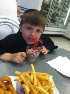 Julianne from MD: My son had such an exceptional day today, I made the executive decision to have ice cream and french fries for dinner. I love having an awesome son!