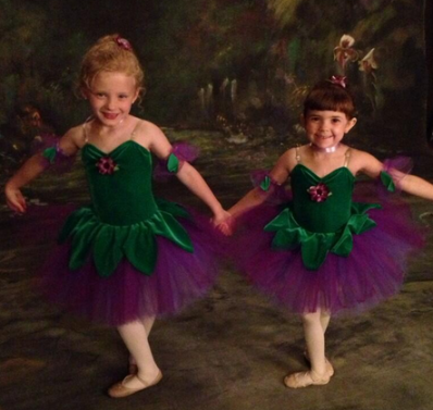 Deanna: Her daughter Maddie (on the right) with her BFF at their dance recital.