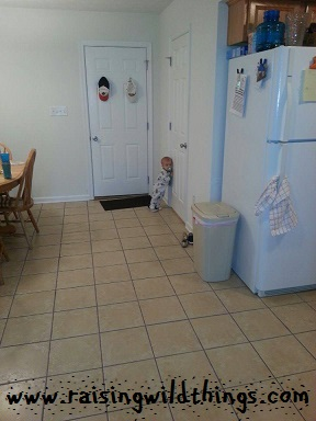 Waiting for Daddy to come out of the bathroom.
