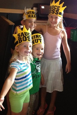 Devan from TN: My and my BFF's kids at Buffalo Wild Wings on my daughter's 7th birthday. Mine are the two girls, hers are the two boys. Her hubby just retired from the US Army and they now live here!! Happy times for the kiddos and the parents!!!