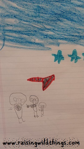 The 5 yo's story of a bear family going to space. (Can you guess what classic book series we've been reading lately?)