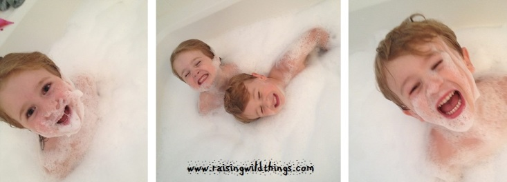 Knowing what would happen, we thought we'd turn on the jets during the  kids' bubble bath in our tub. They had a blast!