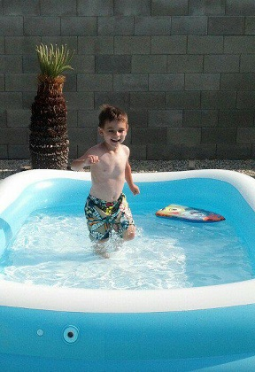 Christi from CA: Ryan dancing in the pool.