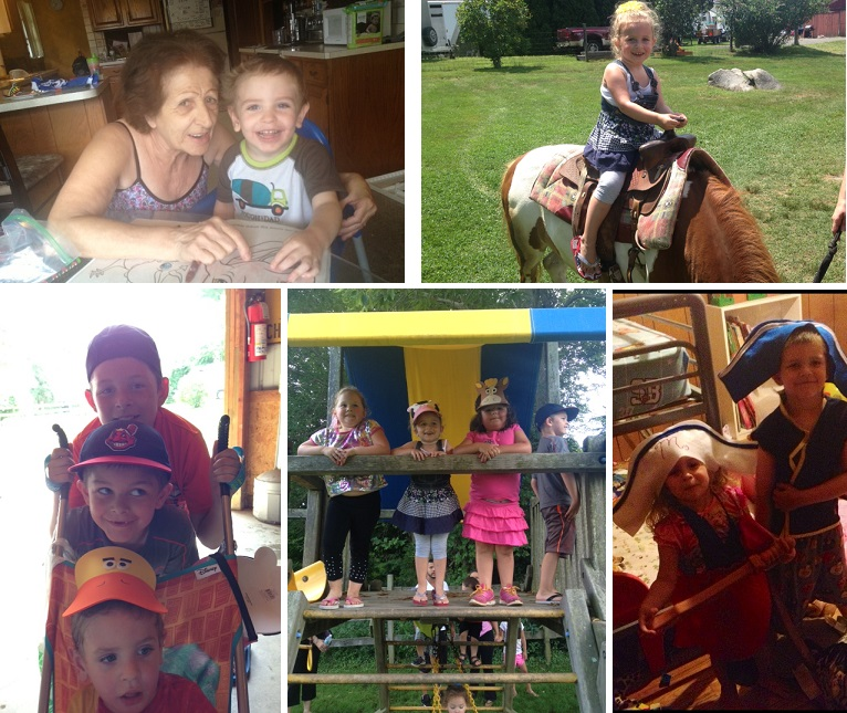 Ashley from CT: Coloring with great-grandma; Pony ride; Brothers being silly; BFFs; Late night dress up procrastination!