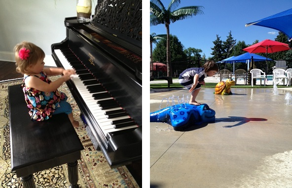 Kathy from IL: (1) Her little lady was born to perform! (2) Having fun at the splash pad!