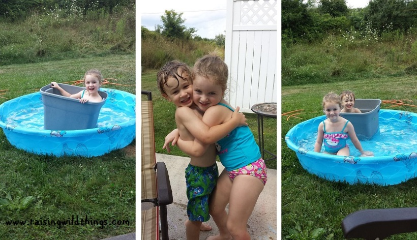 """More pool fun (with a """"ship"""" they found) and some impromptu huggies"""