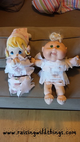 Homemade dresses for the baby dolls.