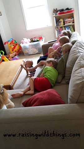 Cousins watching a movie. (Soooooo happy to live close to family now!)