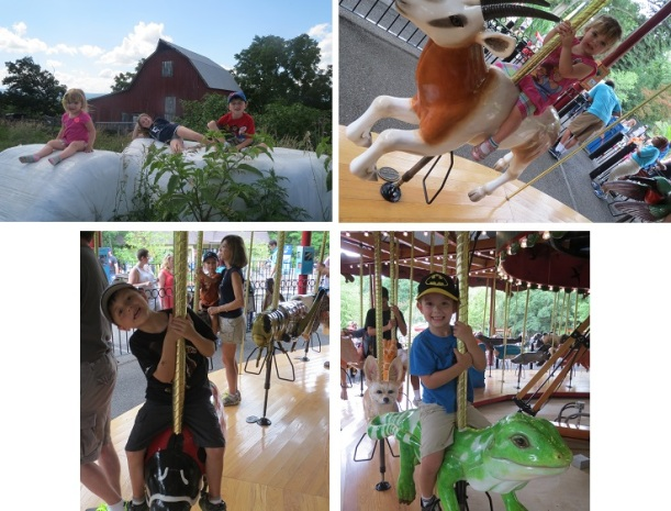 Julianne from MD: The 4th generation of kids on our family's farm outside of Burlington, WV. It was wonderful to see my kids have fun in the same barns and fields I did as a kid; Saturday at the National Zoo reminded me of the pure joy of a child riding on a carousel. And how much cooler that you get to ride on a lady bug, iguana and an oryx?