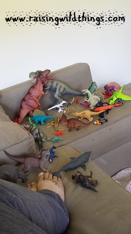 Trying to nap among the dinosaurs.