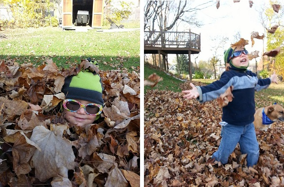Brandy from IN: Eli and Zoe had so much fun rolling around in and throwing leaves. Definitely made standing in the cold worth it! :)